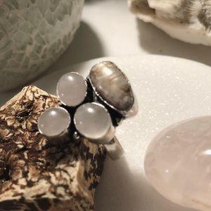 Rose Quartz, Biwa Pearl 925 Silver Ring